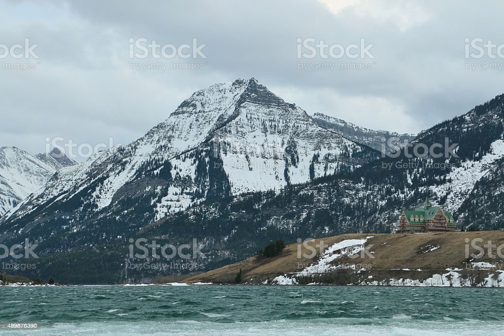 Prince of Wales hotel, winter stock photo