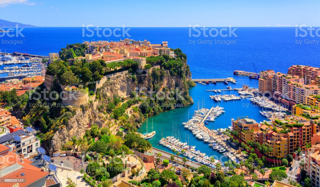 Prince Palace and old town of Monaco, France stock photo