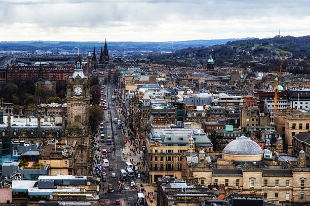 Princes Steet Edinburgh city centre, looking down Princes Steet from Calton Hill. princes street edinburgh stock pictures, royalty-free photos & images