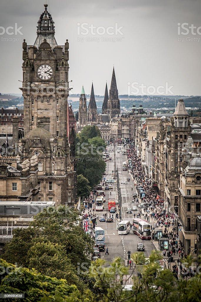 Princes Street, Edinburgh, Scotland, Great Britain, viewed from Calton Hill. stock photo