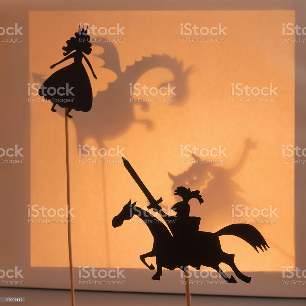 Princess and Knight shadow puppets. stock photo