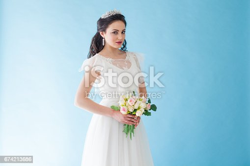 674214372istockphoto Princess Bride in a white dress with a Crown on a blue background 674213686