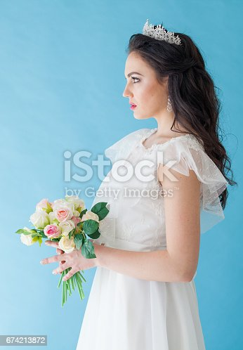 674214372istockphoto Princess Bride in a white dress with a Crown on a blue background 674213872