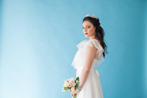 674214372 istock photo Princess Bride in a white dress with a Crown on a blue background 674214372