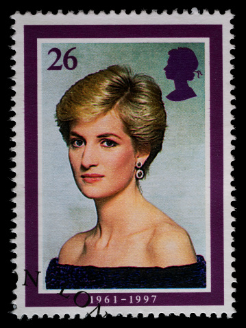 Exeter, United Kingdom - May 25, 2011: British Postage Stamp showing Diana Princess of Wales, Printed and Issued in 1998 to Commemorate Her Life, Following Her Death in 1997