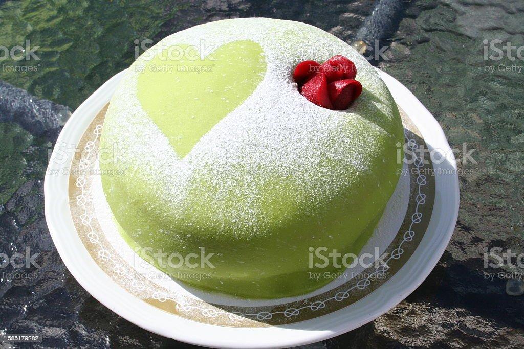 Princess gateau with green marzipan stock photo