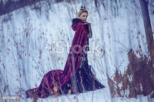 Beautiful girl in a crimson raincoat with a crown in the snow on a winter day