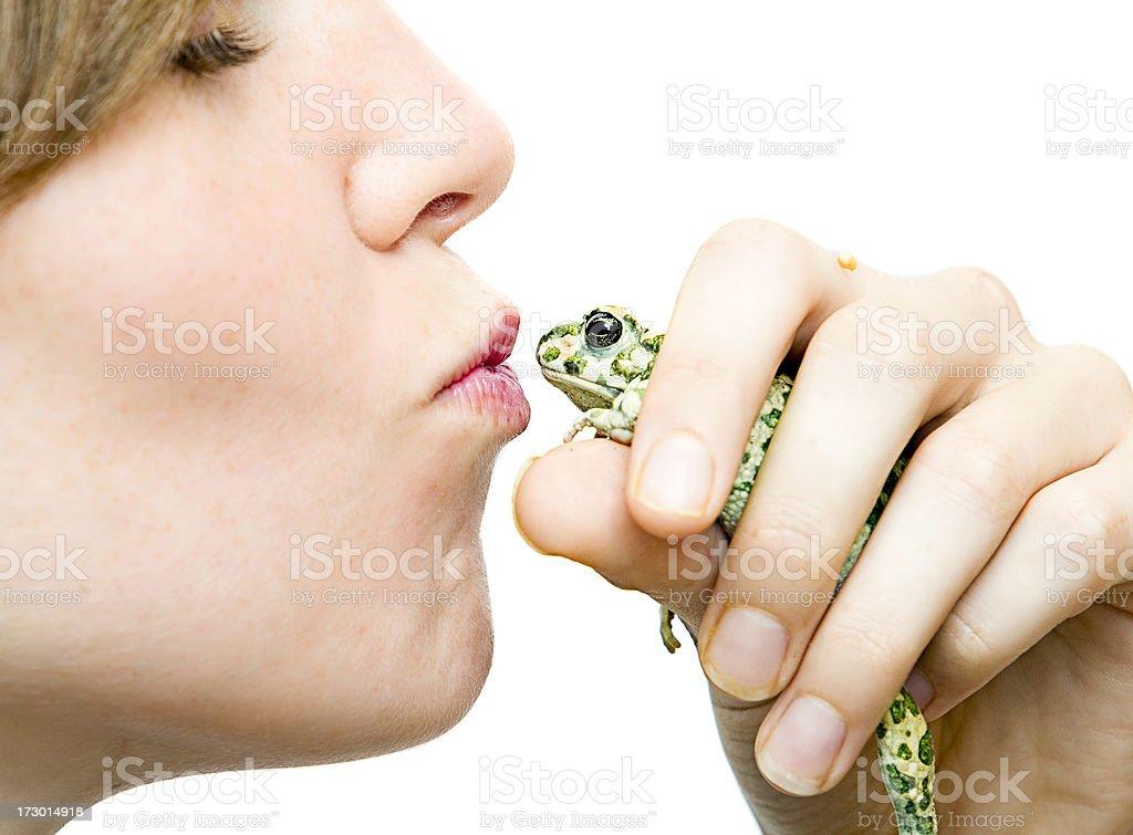 Princess Kissing A Toad stock photo