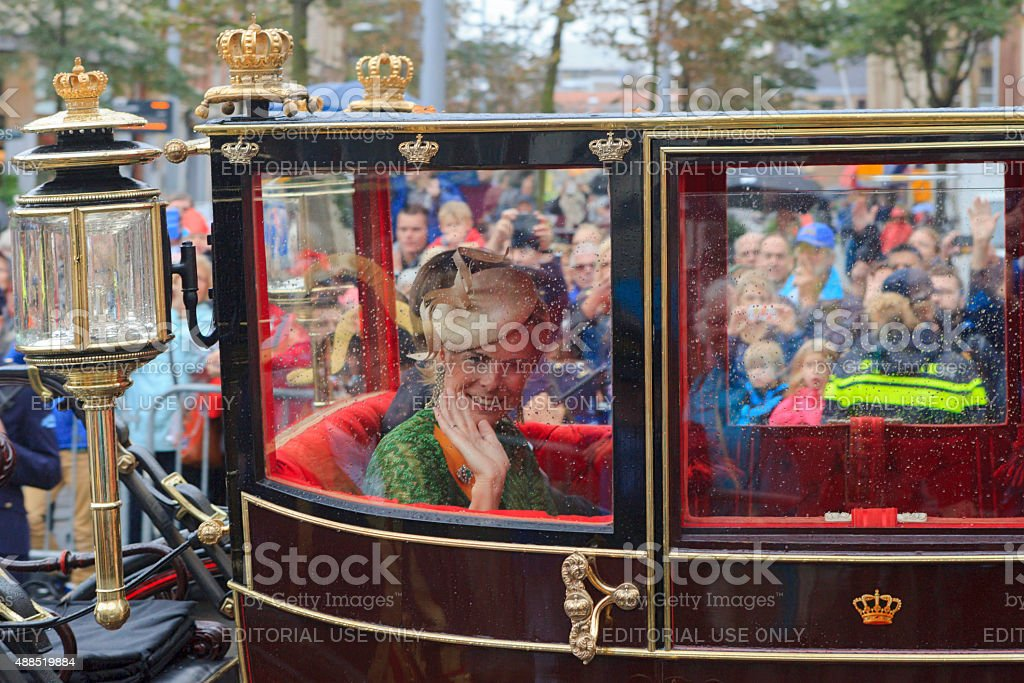 Princess Laurentien of the Netherlands waving to the public stock photo