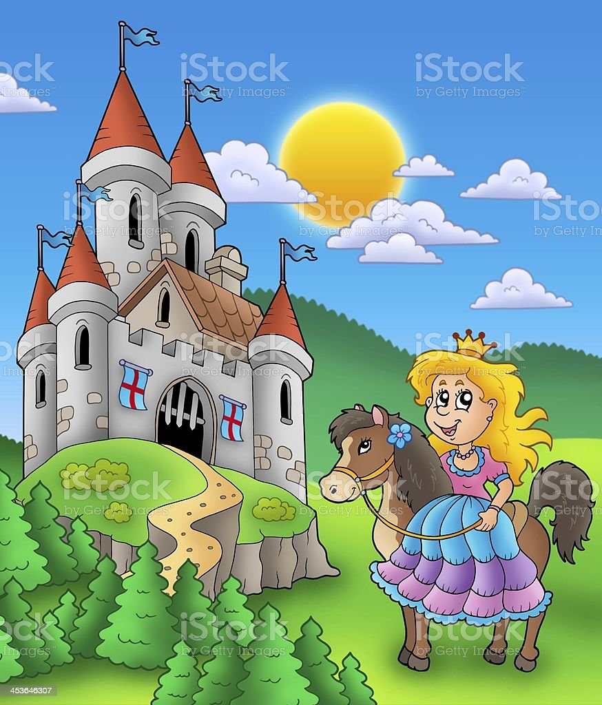 Princess on horse with castle stock photo