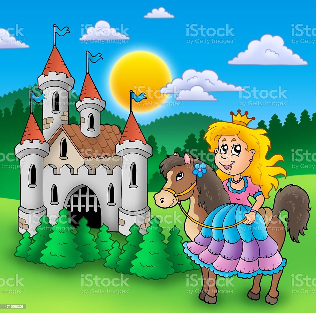 Princess on horse with old castle stock photo
