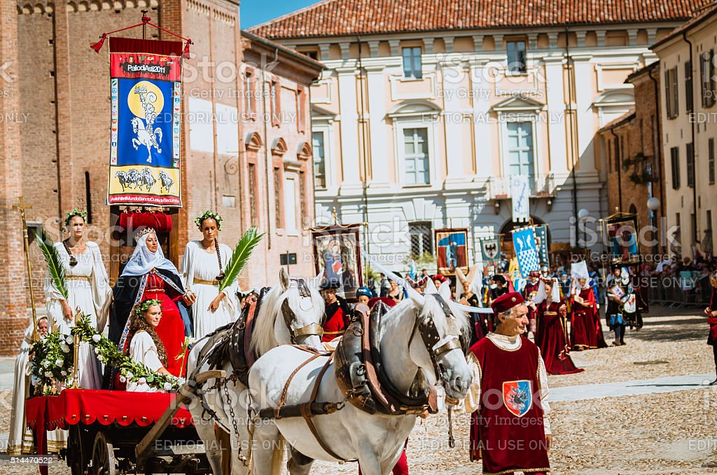 Princess with Flag of the Palio in the historic parade stock photo