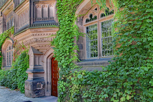 Princeton University Princeton, NJ, USA - June 27, 2012:  Princeton University's spacious campus has elegant stone-clad buildings such as Pyne Hall, with intricate carving in its pink sandstone. ivy league university stock pictures, royalty-free photos & images