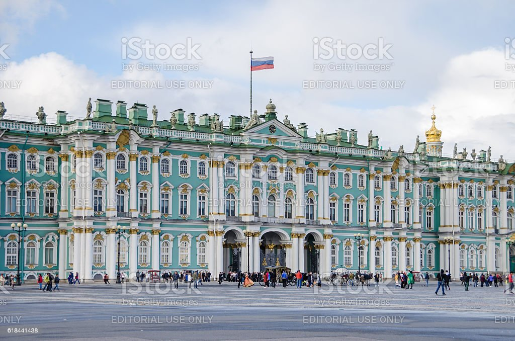 Principal facade of the Winter Palace in Saint Petersburg stock photo