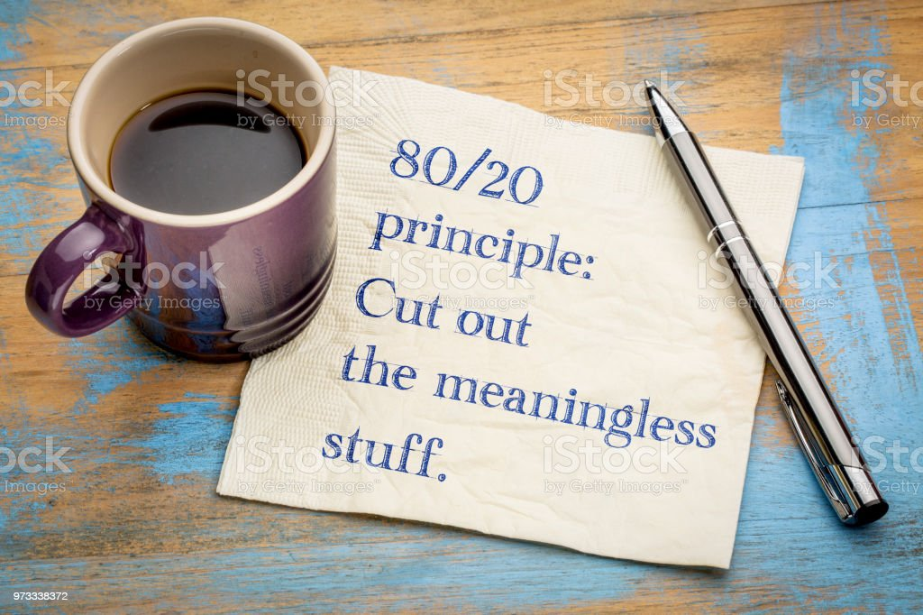 80-20 principle: cut out the meaningless stuff stock photo