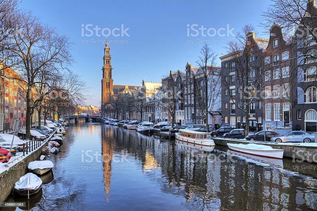 Prinsengracht winter stock photo