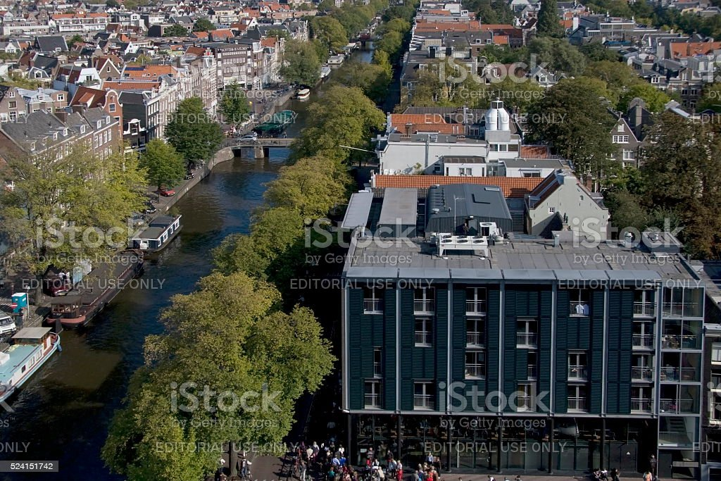 Prinsengracht with the Secret Annex in Amsterdam stock photo