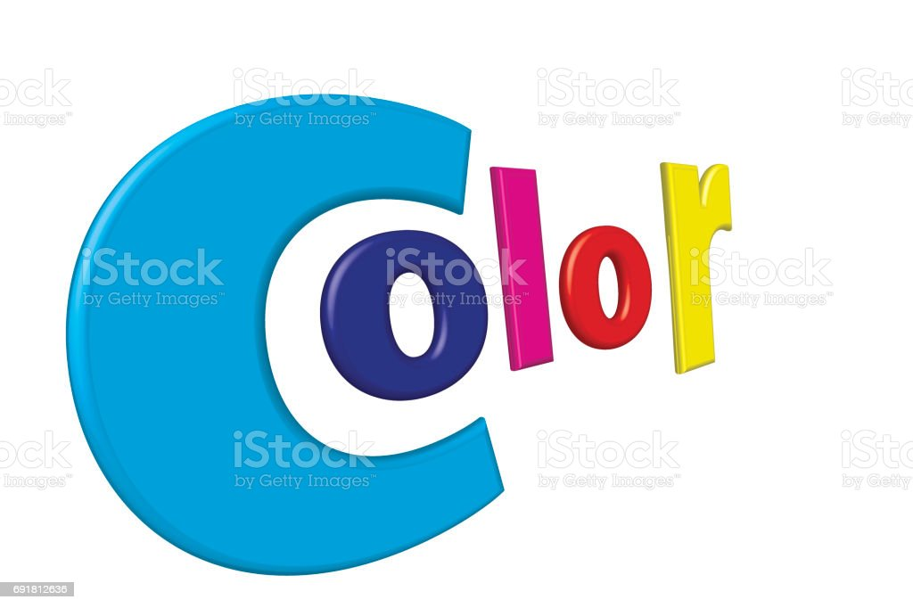 Print color letters illustration with process colors CMYK and RGB. Clipping path included stock photo