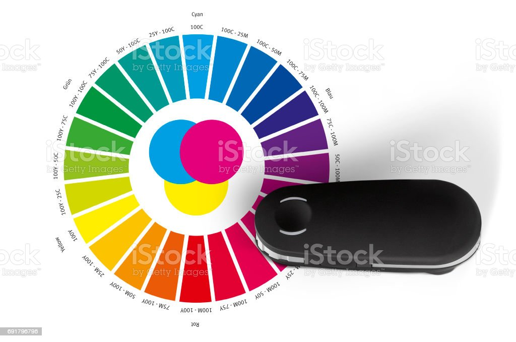Print color wheel and spectrometer controll instrument reading RGB, CMYK, LAB values stock photo