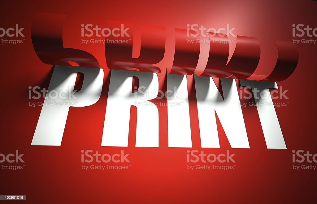 Print concept, cut out in background royalty-free stock photo