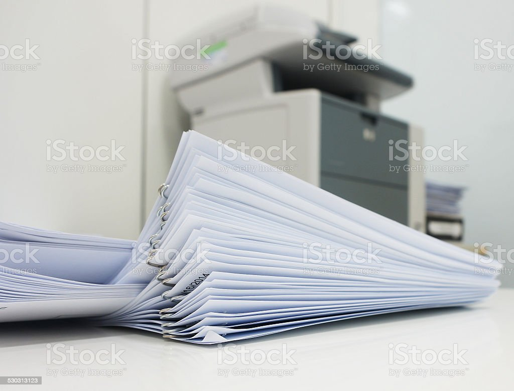 Print document at office stock photo