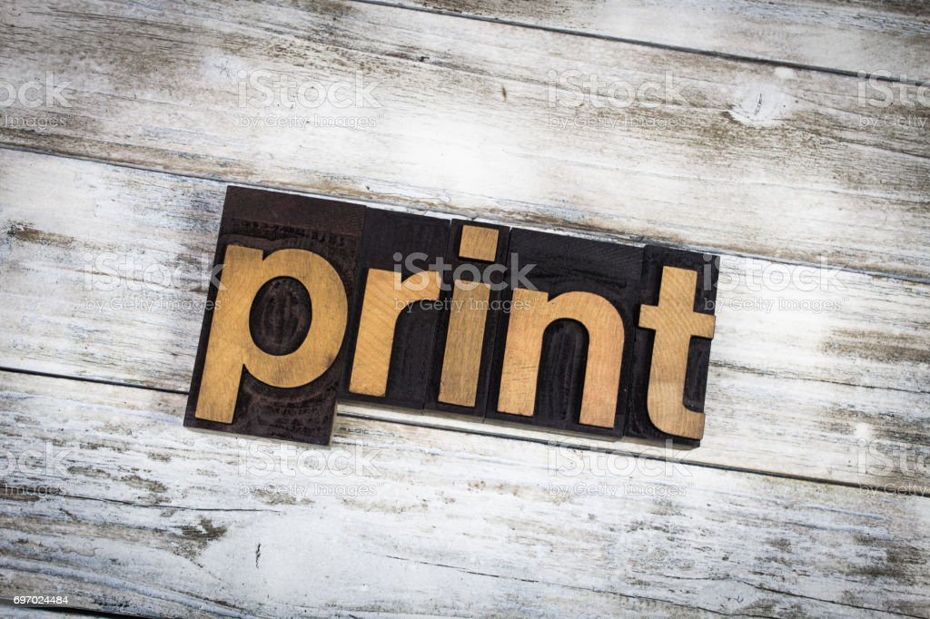 Print Letterpress Word on Wooden Background stock photo
