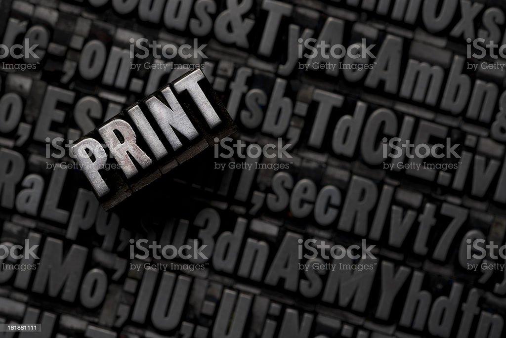 Print - Metal Letterpress Letters royalty-free stock photo
