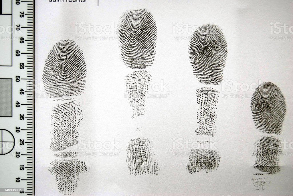 A print of four fingers of a hand stock photo