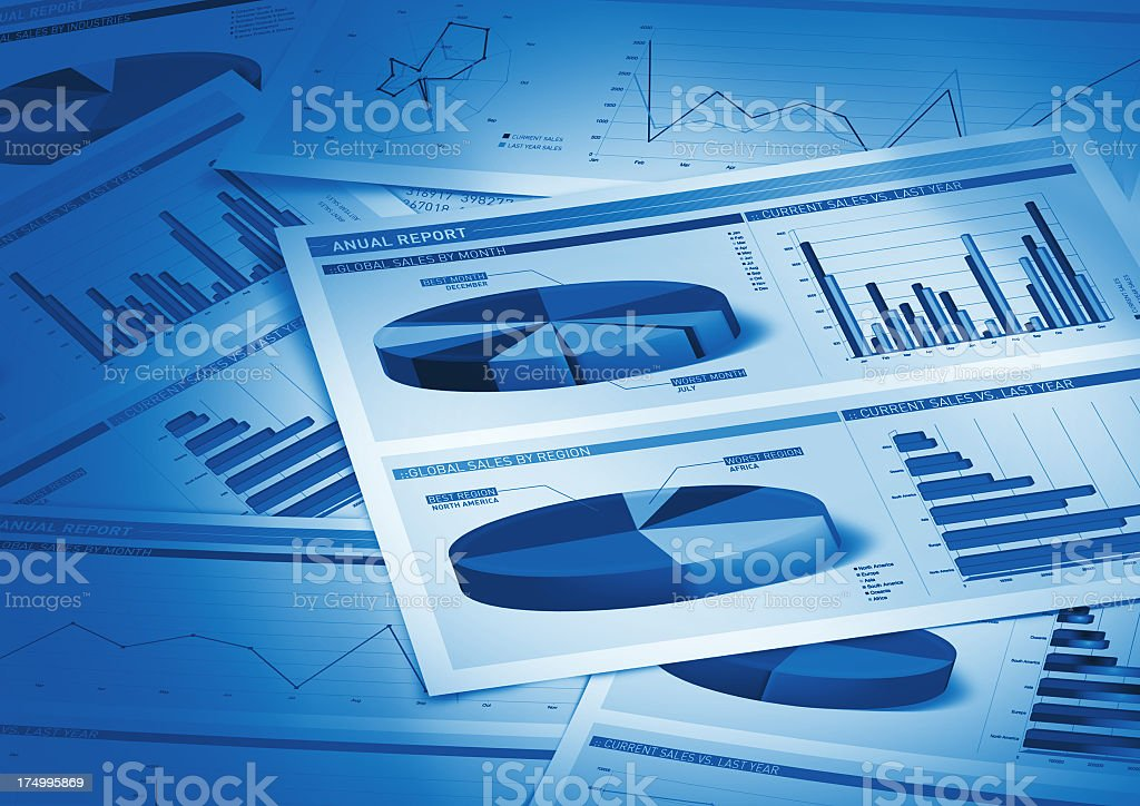 print out of annual report with statistical graph and charts stock