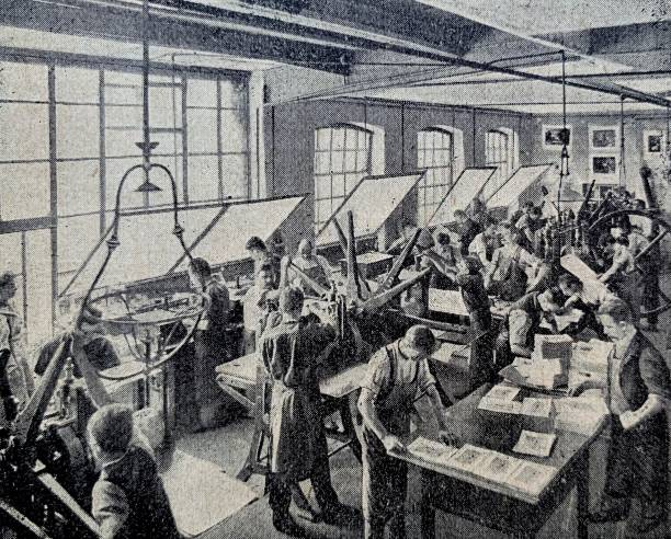 print plant: copperplate printing, sorting room - industrial revolution stock pictures, royalty-free photos & images