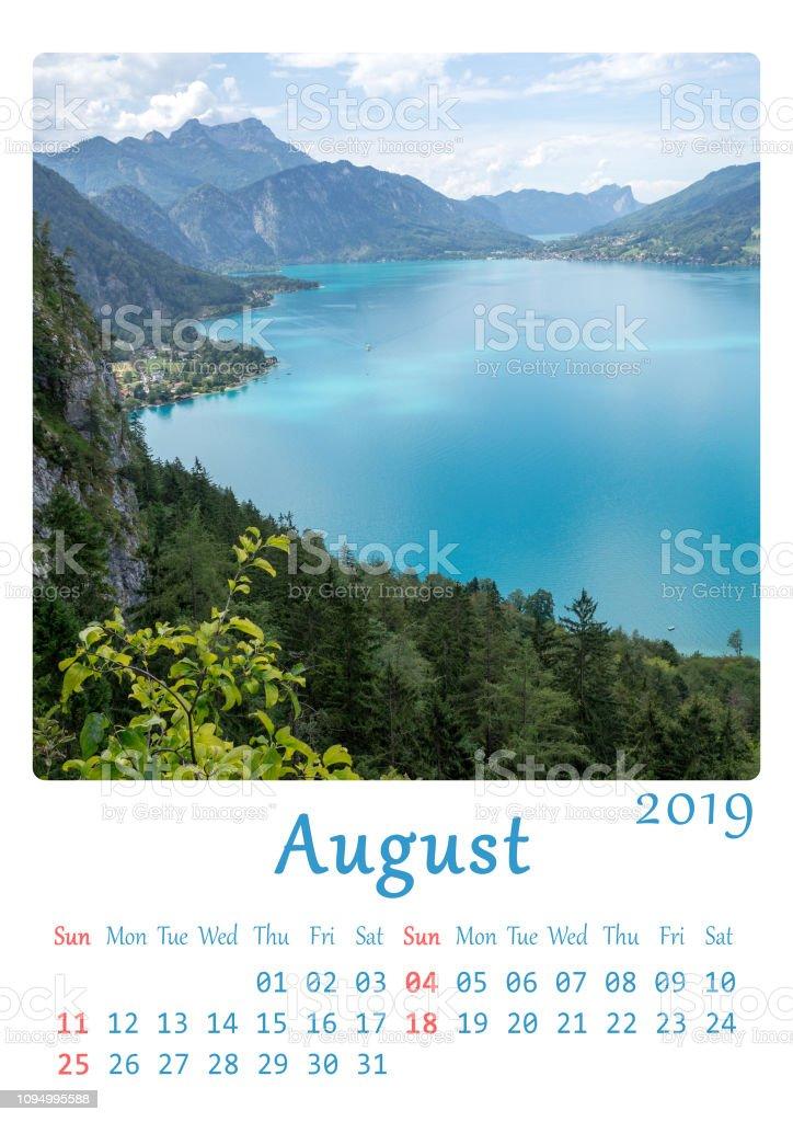 2019 druckbare A4 Kalender - Monat August – Foto