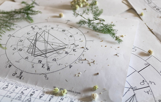 Printed astrology natal charts with small yellow flowers and fragile green plant branches, annual and New Year horoscope background