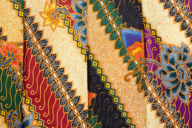 Printed Batik at Indonesian Textile-Market stock photo