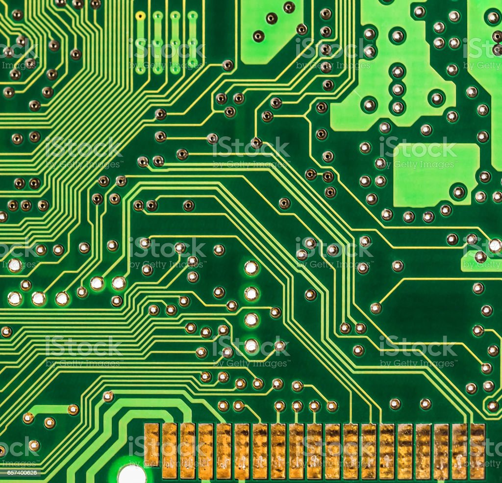 Printed Circuit Board And Gold Conneting Pins Stock Photo More Detail Of A Royalty Free Image