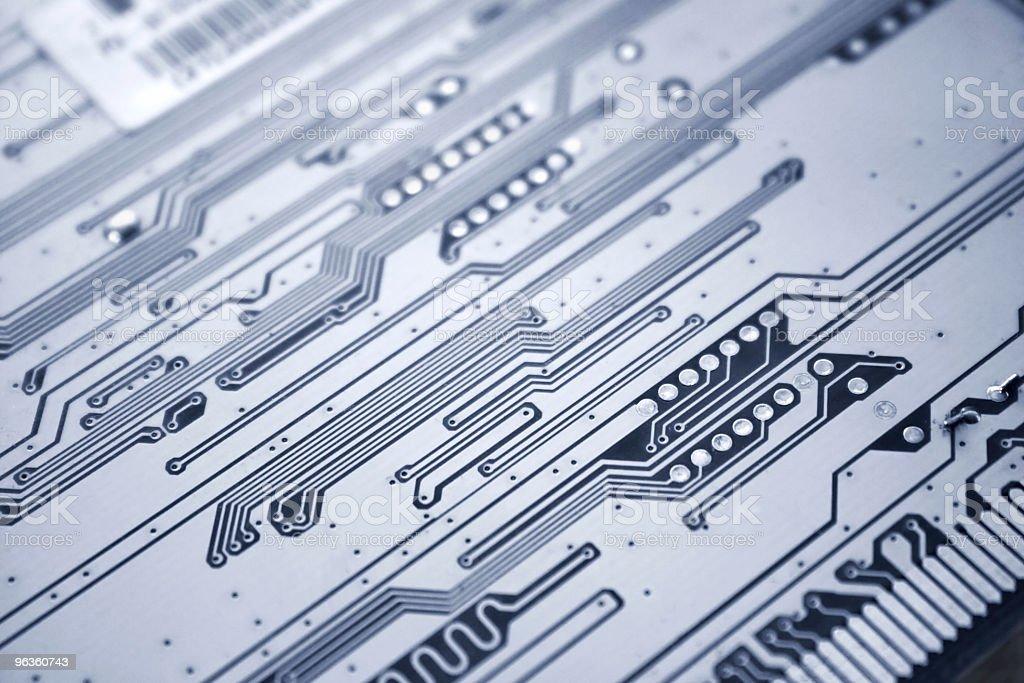 Printed circuit board close-up stock photo