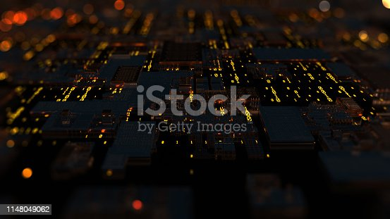 638041564 istock photo Printed circuit board futuristic server. 3D Rendering 1148049062