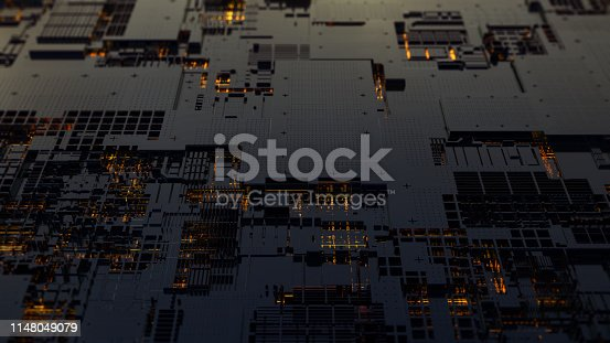 638041564 istock photo Printed circuit board futuristic server. 3D Rendering 1148049079