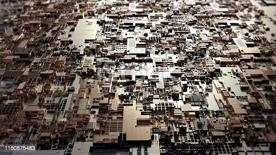 istock Printed circuit board futuristic server. 3D Rendering 1150875483