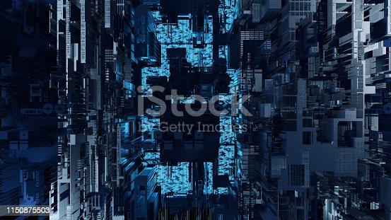 istock Printed circuit board futuristic server. 3D Rendering 1150875503