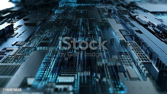 istock Printed circuit board futuristic server. 3D Rendering 1150875543