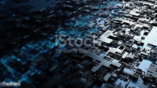 istock Printed circuit board futuristic server. 3D Rendering 1150875574