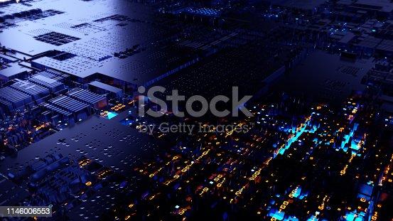 istock Printed circuit board futuristic server 1146006553