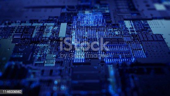 istock Printed circuit board futuristic server 1146006562