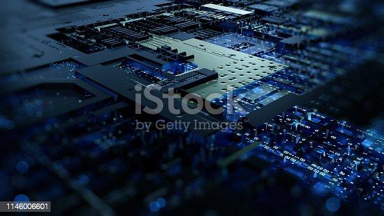 istock Printed circuit board futuristic server 1146006601