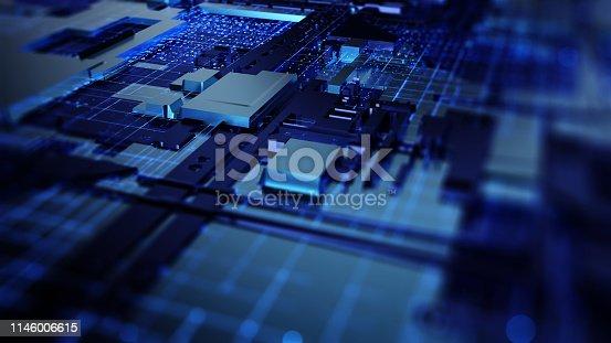 istock Printed circuit board futuristic server 1146006615