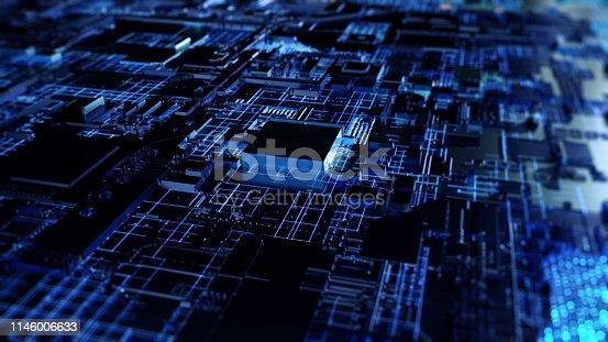 istock Printed circuit board futuristic server 1146006633