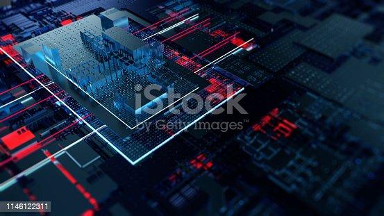 istock Printed circuit board futuristic server 1146122311