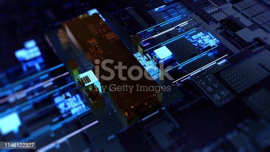istock Printed circuit board futuristic server 1146122327