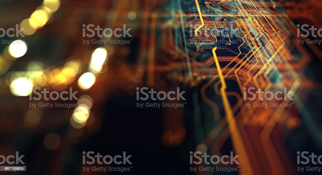 Printed circuit board futuristic server stock photo