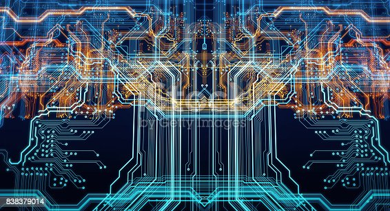 istock Printed circuit board futuristic server 838379014